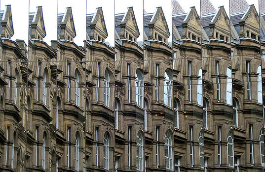 Detailed window reflections at The Bourse. Boar Lane. Leeds UK. by Rob Huntley