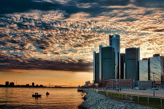 Detroit Riverfront Sunset by Rod  Arroyo