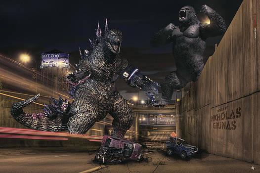 Detroit Zoo - Godzilla vs King Kong by A And N Art