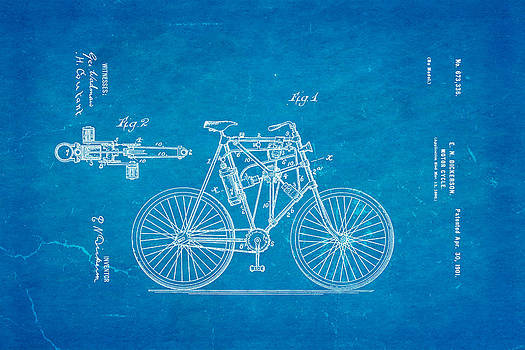 Ian Monk - Dickerson Motor Cycle Patent Art 1901 Blueprint
