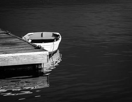 Dingy at the dock by Dick Wood