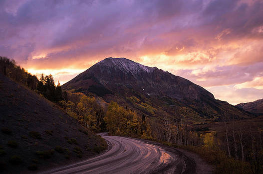 Dirt Mountain Road At Sunset, Crested by Brandon Huttenlocher