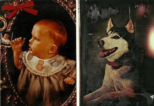 Dog And Baby by Saundra Bolen Samuel