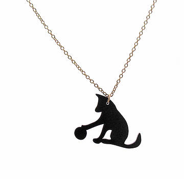Dog With a Ball Pendant Necklace by Rony Bank