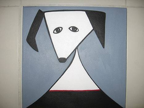 Dog with red collar by Sandra McHugh