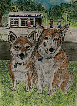 Dogs in front of the Gulf Station by Kathy Marrs Chandler