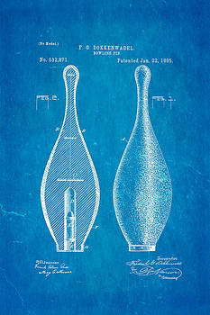 Ian Monk - Dokkenwadel Bowling Pin Patent Art 1895 Blueprint