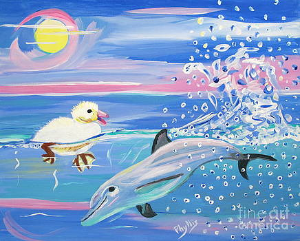 Dolphin Plays with Duckling by Phyllis Kaltenbach