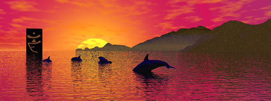Dolphin Sunset I by Mark L Watson