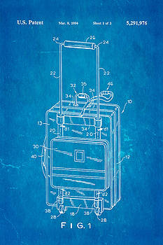 Ian Monk - Don Ku Wheeled Collapsible Luggage Patent Art 1994 Blueprint