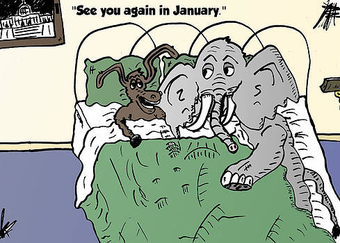 Donkey and elephant chatter in bed comic strip by OptionsClick BlogArt