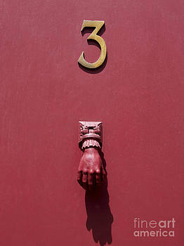 BERNARD JAUBERT - Doorknocker and number three on a red door. France. Europe.