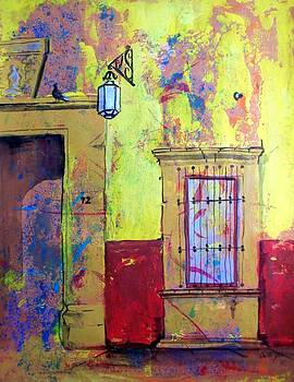 Doorway with birds and street light by Cristiana Marinescu