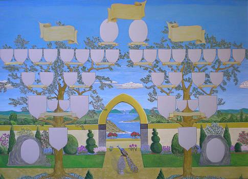 Double family tree chart Mediterranean garden by Alix Mordant