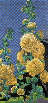 Double Yellow Hollyhocks by Teresa Tromp