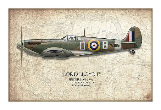 Douglas Bader Spitfire - Map Background by Craig Tinder