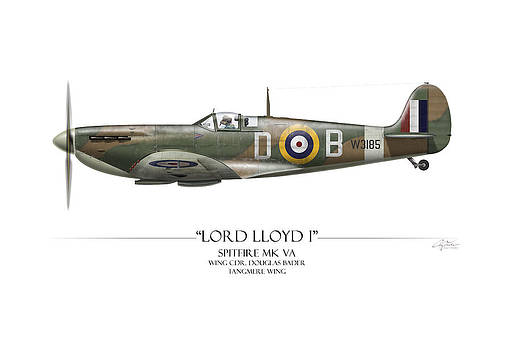 Douglas Bader Spitfire - White Background by Craig Tinder