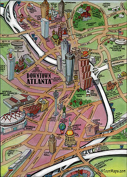 Kevin Middleton - Downtown Atlanta Georgia Cartoon Map
