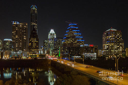Downtown Austin at Night by Kimberly Blom-Roemer
