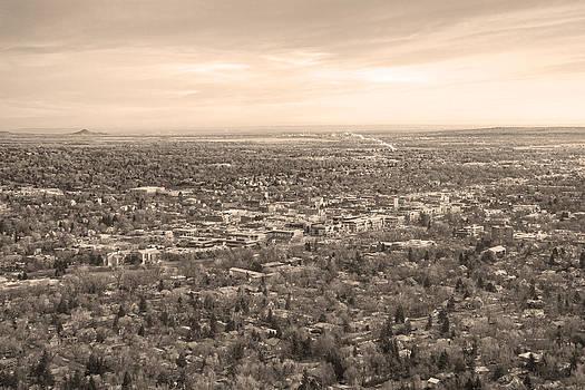 James BO  Insogna - Downtown Boulder Colorado Morning Sepia View