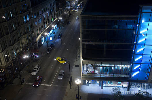 Downtown Chicago at Night State and Washington Street by Linda Matlow
