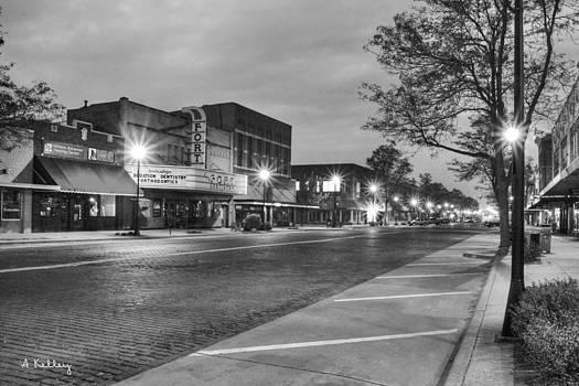 Downtown Kearney at Night - b/w by Andrea Kelley