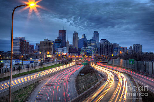 Wayne Moran - Downtown Minneapolis Skyline on 35 W