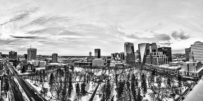 Downtown Regina - Black and White by JM Photography