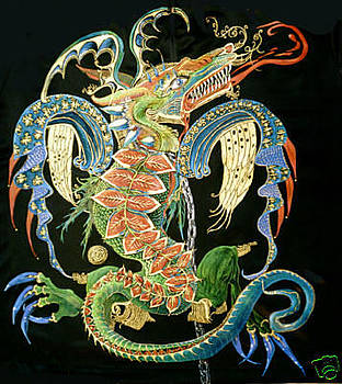 Dragon painted on satin tshirt by Danielle Vergne