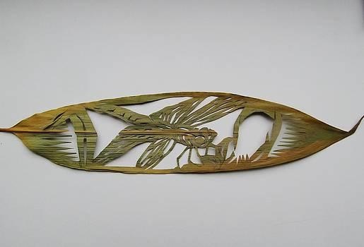 Alfred Ng - dragonfly on a bamoo leaf