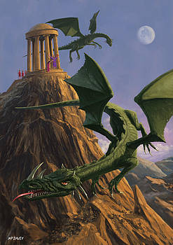 Martin Davey - Dragons flying around a temple on mountain top