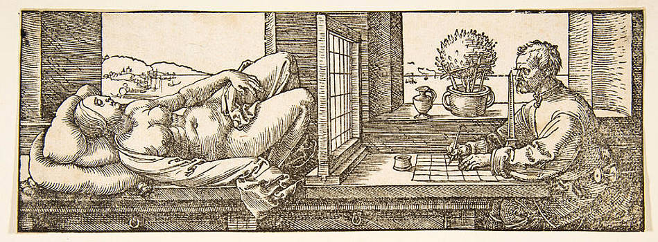 Albrecht Duerer - Draughtsman Making a Perspective Drawing of a Reclining Woman
