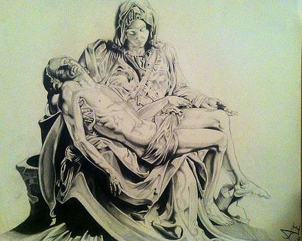 Drawing of Michael Angelos sculpture the Pieta by Maritza Montnegro