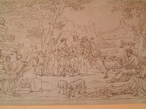 Drawing on paper representing an arcadian scene inscribed Poussin  by Manner of Nicholas Poussin