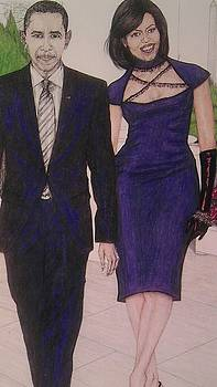 Drawings of Barack and Michelle Obama by Vicki  Jones