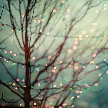Lisa Russo - Dreamy Pastel Holiday Lights against a Teal Night Sky