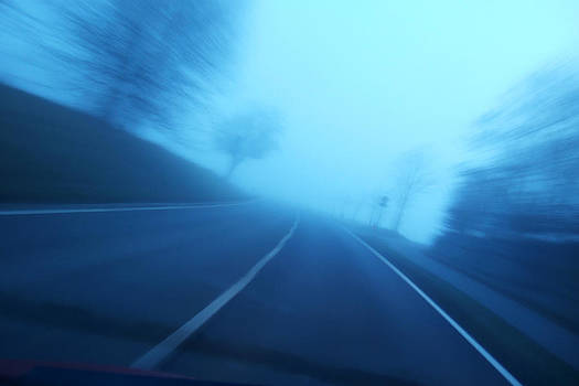 Driving fast - blue and blurred by Matthias Hauser