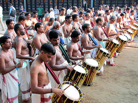 Drums At A Temple Festival by Joe Zachariah