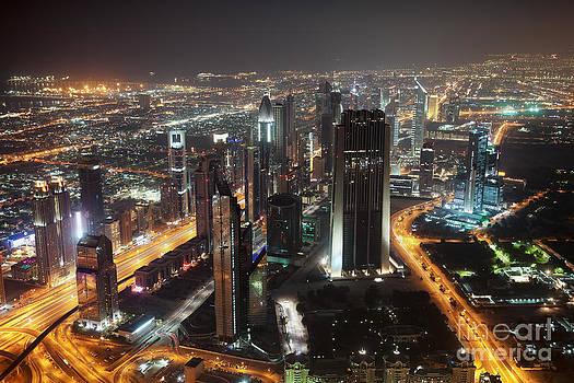 Fototrav Print - Dubai aerial Skyline at night