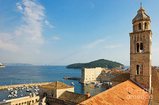 Dubrovnik The Dominican Monastery Bell Tower and Harbor by Kiril Stanchev