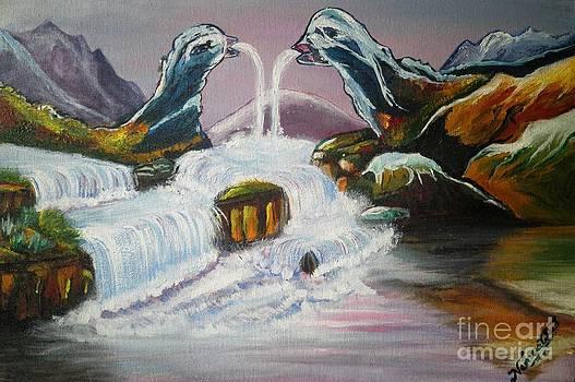 Duck mountain waterfall by Artist Nandika  Dutt