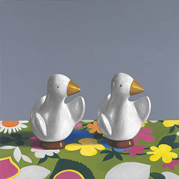 Ducks on Floral Fabric by Maureen O'Connor