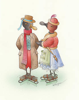 Ducks on skates 04 by Kestutis Kasparavicius