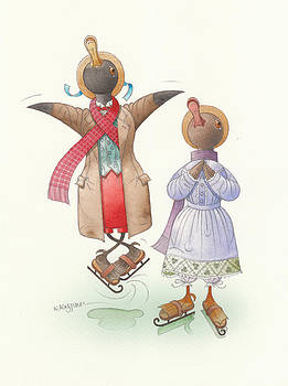 Ducks on skates 06 by Kestutis Kasparavicius