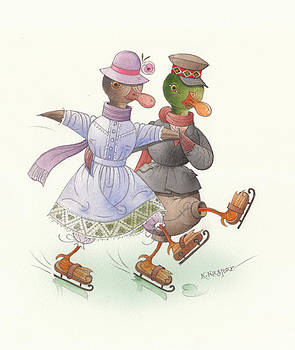 Ducks on skates 10 by Kestutis Kasparavicius