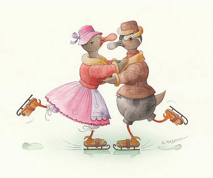 Ducks on skates 13 by Kestutis Kasparavicius