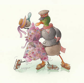 Ducks on skates 14 by Kestutis Kasparavicius