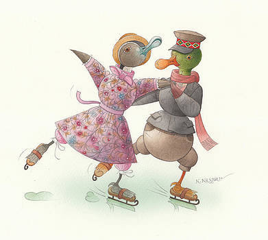 Ducks on skates 16 by Kestutis Kasparavicius