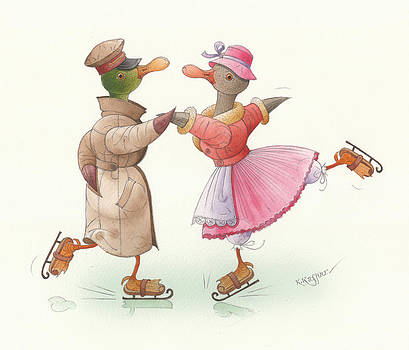 Ducks on skates 17 by Kestutis Kasparavicius