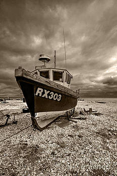 Dungeness Boat Under Stormy Skies by Bel Menpes